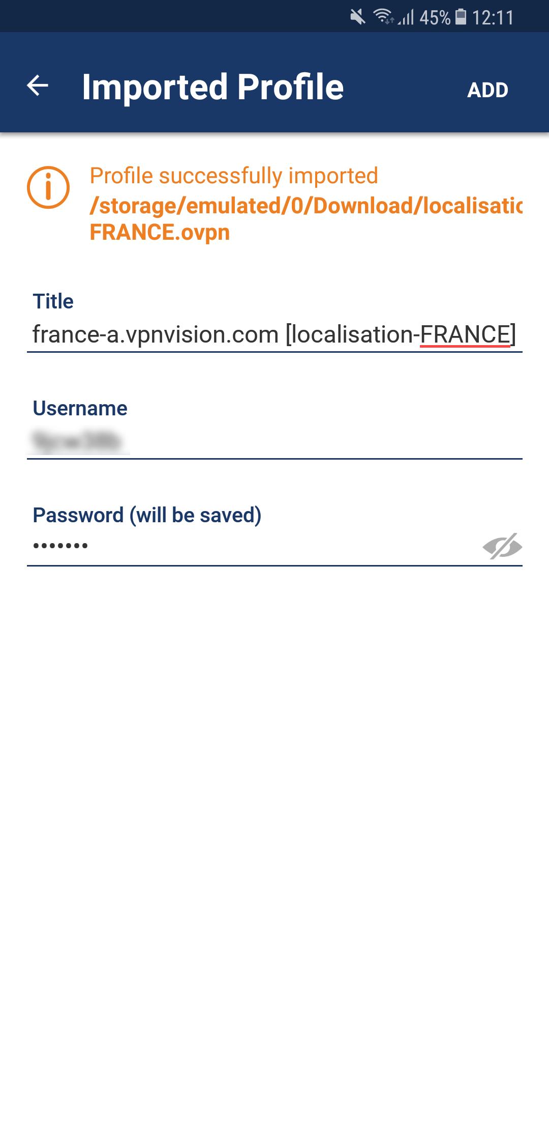 Installation VPN Android OpenVPN - VPNVision